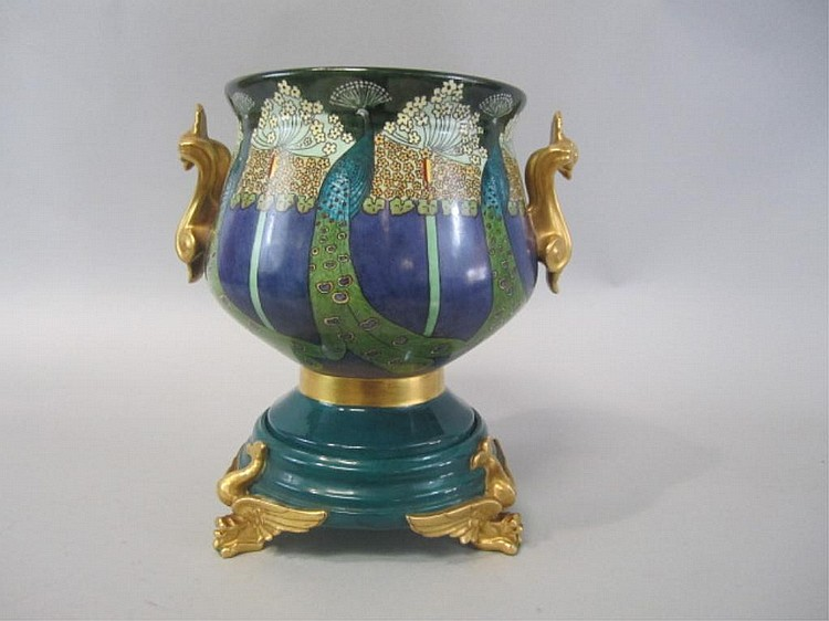 H20-22  LIMOGES ART NOUVEAU URN WITH STAND