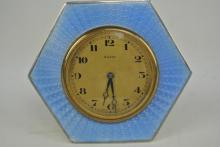 SILVER AND ENAMEL 8 DAY CLOCK
