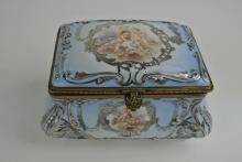 SEVRES BOX WITH SILVER OVERLAY AND HAND PAINTED