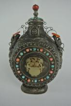 BH3  CHINESE SILVER FLASK WITH CORAL