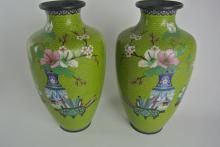 BH8  PAIR OF CHINESE CLOISONNE VASES