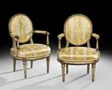 PAIR OF LOUIS XVI STYLE POLYCHROME FAUTEUILS