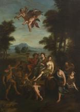 19th CENTURY BACCHUS & ARIADN OIL PAINTING