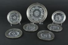 7 CUT CRYSTAL & STERLING SILVER DISHES