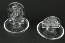 2 LALIQUE ORNIMENTAL RING DISHES