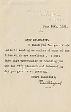 Rutherford, Ernest. Typed letter signed.