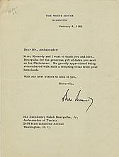 Kennedy, John F. Typed letter signed.