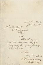 Anderson, Robert. Autograph statement on the Bombardment of Ft. Sumter.