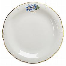 [Eisenhower, Dwight D.] White China dinner plate.