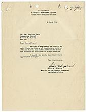 [World War II]. Typed letter signed.