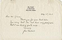 Steinbeck, John. Autograph letter signed.