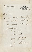Darwin, Charles. Autograph letter signed.