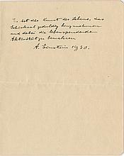 Einstein, Albert. Autograph poem signed.