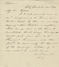 Grant, Ulysses. Autograph letter signed, 1 page (8.75 x 7.75 in.; 222 x 197 mm).