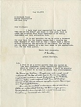 Einstein, Albert. Typed letter signed (