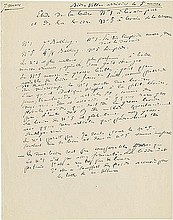Pasteur, Louis. Highly important group of autograph manuscript pages by Pasteur.