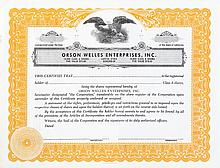 Orson Welles Enterprises stock certificate for television production company.
