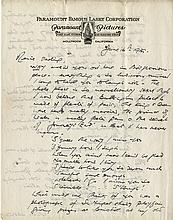 Director James Whale handwritten signed letter on his arrival in Hollywood.