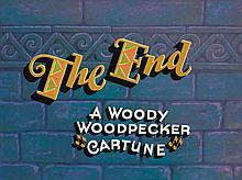 Original end title cel and background from Woody Woodpecker.