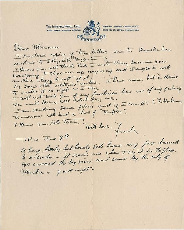 Wright, Frank Lloyd. An interesting pair of letters written by the architect to his wife.