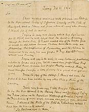 Adams, John. Autograph letter signed, 2 pages, Quincy, 12 February 1818, to I. Le Ray de Chaumont.