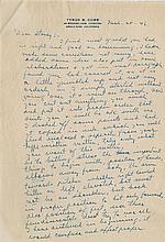 Cobb, Tyrus Raymond. Two handwritten letters regarding a biography & a book on baseball fundamentals