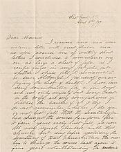 Custer, George Armstrong. Pair of letters--1 by Custer as a student-- another written as Lieutenant