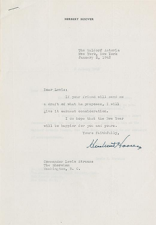 Hoover, Herbert. A remarkable archive of over 500 letters, speeches, memos and notes.