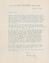 Hemingway, Ernest. A archive of eight letters, documents and a publication.