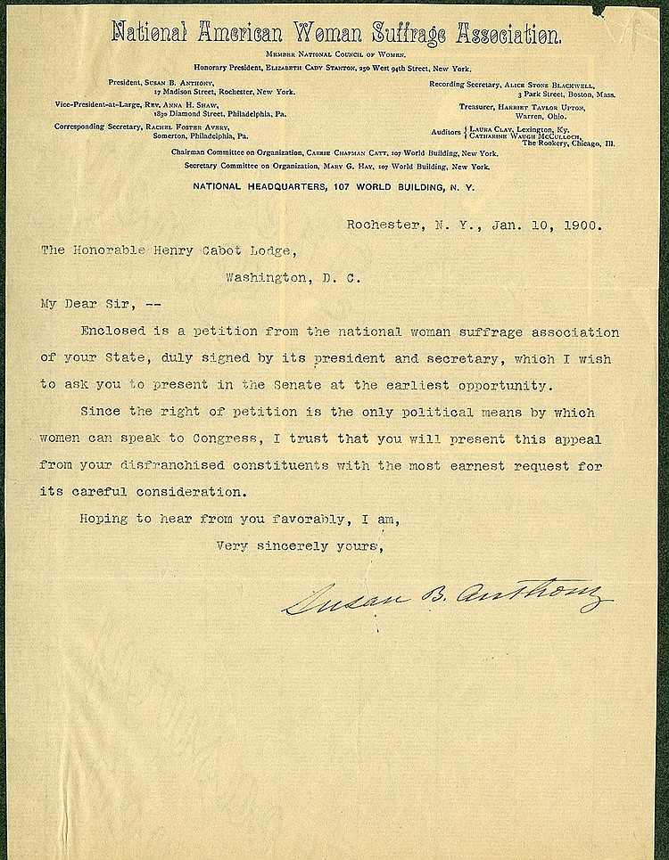 Anthony, Susan Brownell. Typed letter signed (