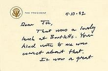 Bush, George H.W. Rare autograph letter signed (