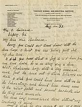 Carver, George Washington. Autograph letter signed (
