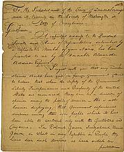 Adams, John. Extraordinary letter signed (