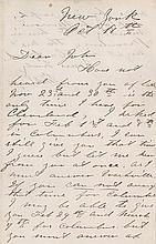 Booth, John Wilkes. Rare autograph letter signed (