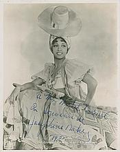 Baker, Josephine. Extraordinary photograph signed (