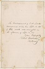 Anderson, Robert. Autograph statement on the Bombardment of Ft. Sumter signed (