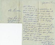 Carl Perkins handwritten signed personal letter to The Beatles.