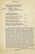 Woody Guthrie typed signed manuscript for his unpublished song