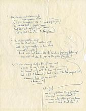 Bob Dylan handwritten lyrics for