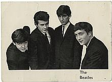 The Beatles rare promo photograph signed by all four band members with Pete Best's image, but Ringo Starr's autograph.