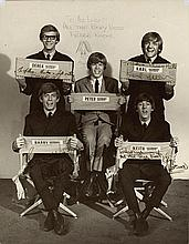 Vintage Herman's Hermits signed publicity photo.