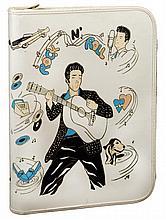 Vintage white Elvis Presley school binder.