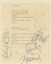The Who Autographed printed copy of the lyric sheet for