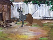 """Original production cel of """"Lady"""" and """"Tramp"""" from Lady and the Tramp."""