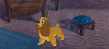 """Production cel and background featuring """"Lady"""" from Lady and the Tramp."""