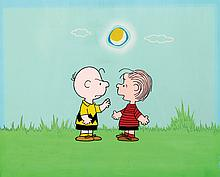 Original production cels and production background from a Peanuts TV Special.