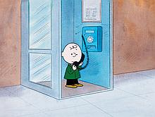 Original production cel and matching background from a Peanuts television special.