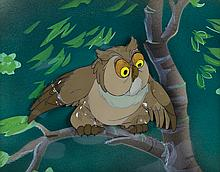 """Original production cel and Courvoisier background featuring the """"Owl"""" from Bambi."""