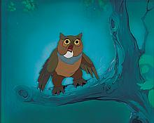 """Original production cel and pre-production background featuring """"Owl"""" from Bambi."""