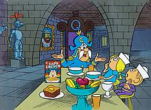 """Original production cels and background featuring """"Cap'n Crunch"""" and the kids."""